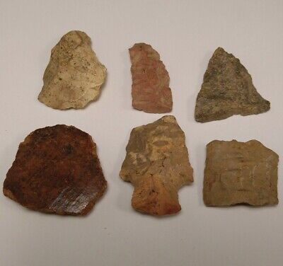 Lot of Native American Indian Artifact Stone Tools Arrowheads Pottery Shards D9