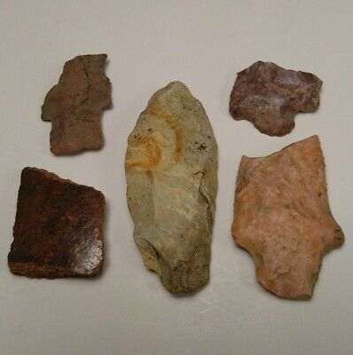 Lot of Native American Indian Artifact Stone Tools Arrowheads Pottery Shards D10