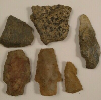 Lot of Native American Indian Artifact Stone Tools Arrowheads Pottery Shards E1