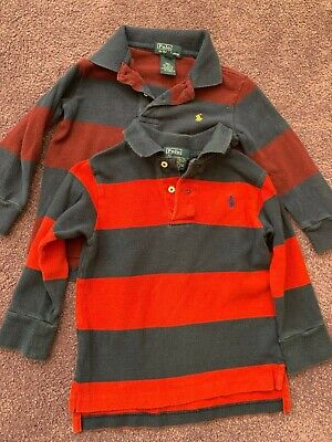2 Polo Ralph Lauren Boys Long Sleeve Polo Shirts Lot Of 2 Size 2T