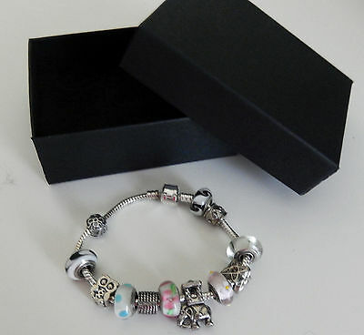 Silver Color Metal Bracelet Threaded Elephant Owl Murano Beads NEW with box