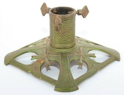 """Vintage Cast Iron Christmas Tree Stand Green 7.5""""x7.5"""" Home Decor"""