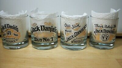 Jack Daniels Old No. 7 Rock Glasses Clear with Black & Gold Lettering~Lot of 4