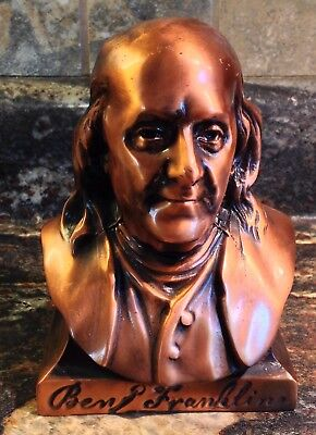 Vintage Copper Ben Franklin Bust Coin Bank Compliments Of Franklin Rep.