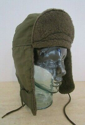 WWII Era Army Dated 1943 Field Combat HatCap Ear Flaps Olive Green Size 7 1/4
