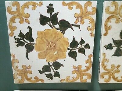 Antique Nouveau Floral Hand Painted Ceramic Fireplace Tiles-6 available #5699