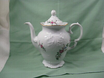 Wawel Made In Poland Vintage Floral Bouquet Porcelain China Coffee Pot
