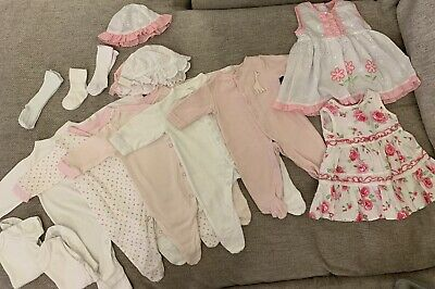 Baby Girls Newborn  Clothes Bundle Vests Sleepsuits Next, Mothercare,Some Bnwt