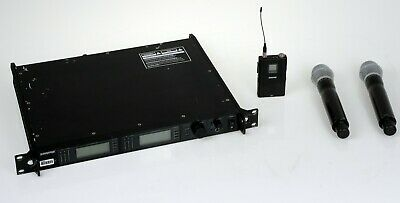 Shure UR4D+ Two Channel Receiver w/2 Bodypacks & 2 Handheld L3 638-698 (Export)