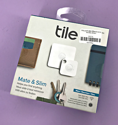 NEW! Tile Mate & Slim Combo Tracking Device RT-16004  4 Pack, White /Gray #0664