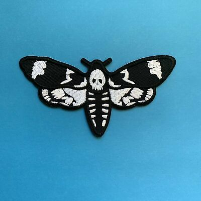 Death Head Skull Moth Iron On Patch Embroidered Badge Appliqué Rockabilly Tattoo