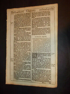 1611 King James Bible-2nd Kings 23-JOSIAH Finds the BOOK!-The LAW!-Rare-FOLIO