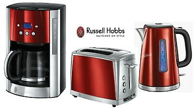 Russell Hobbs Luna Red Kettle and Toaster Set & Coffee Maker - New