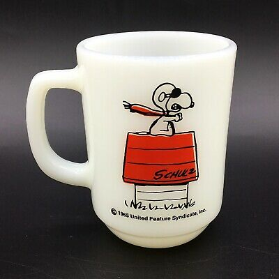 Vintage Anchor Hocking Fire-King Mug Peanuts Snoopy Curse You Red Baron!