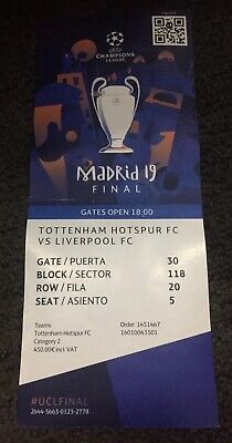 2019 European Cup / Champions League Final Ticket:- Liverpool v Tottenham.
