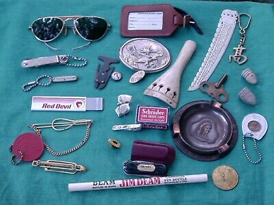 Vintage Mans Junk Drawer Lot Aviator Sunglasses Box Knife Tie Clasps Ashtray +