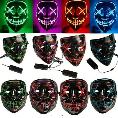 3-Modes Halloween-Scary-Mask Cosplay Wire LED Light Up Costume Mask Purge Movie