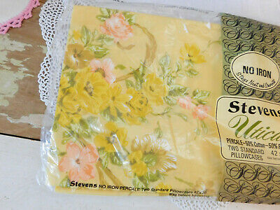 Vintage NEW NOS STEVENS Cotton Percale PILLOWCASES PAIR Shabby Rose Floral