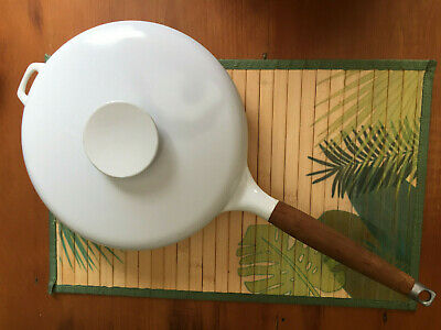 """White Enameled Cast Iron COPCO Michael Lax Denmark 12"""" Frying Pan Skillet w/ Lid"""