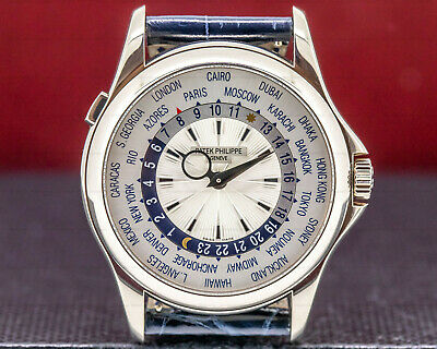 Patek Philippe 5130G-001 World Time 18K White Gold ORIGINAL BOX AND PAPERS