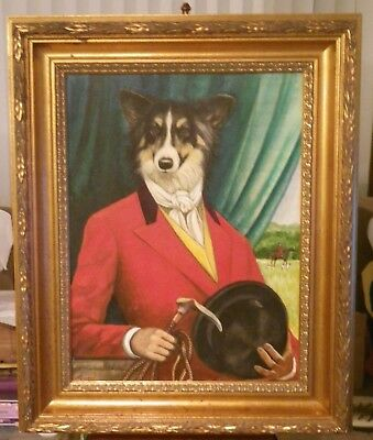 Signed E Rebroy Border Collie Dog English Fox Hunt Oil on Canvas Painting