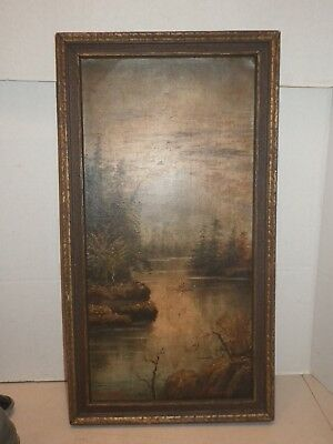 Antique River & Trees Nature Scene Oil on Board Signed Dated J.E. Parsell 1887?