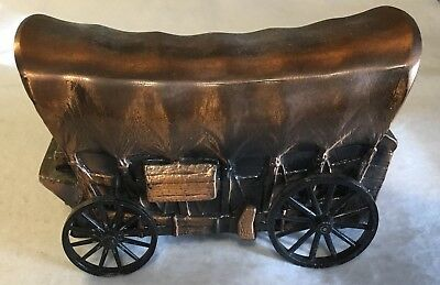 Vintage Banthrico Copper Covered Wagon Money Coin Savings Bank Farmers National