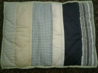 Pottery Barn Baby Crib Pillow Blue White Ginham Stripe Navy Patchwork NWT
