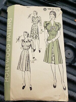 Vintage 15 Cents 1930's Hollywood Sewing Pattern, Dress-Size -20,#621