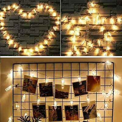 UK 10/40 Photo Window Hanging Peg Clips LED String Lights Home Party Fairy Decor