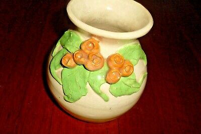 Vintage Retro Australian Pottery Vase -Gumnuts & Gum Leaves -Signed Kathy Shell