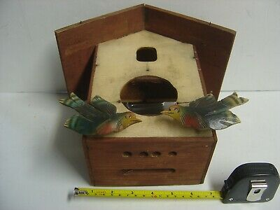 Vintage Cuckoo Clock Co. Black Forest Case Made In Germany Moving Birds Parts