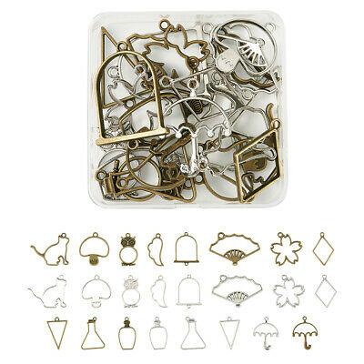 20pc Silver Alloy Hollow Frame Open Back Bezel Pendants Metal Charms 19.5x29.5mm