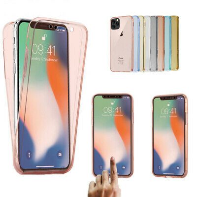 For iPhone 11 Pro Max XS XR Thin 360° Protect TPU Clear Soft Silicone Case Cover