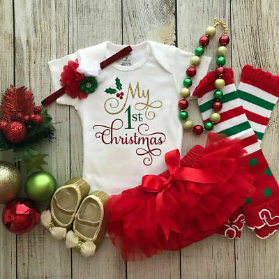 AU My Baby First Christmas Outfit Jumpsuit Girls Tutu Skirt Headband Clothes Set