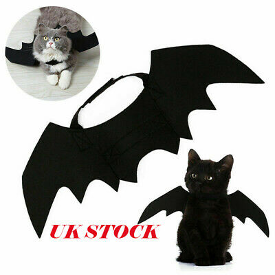 Black Bat Wing Vampire Halloween Pet Dog Cat Costume Fancy Cos Adorable Dress UK