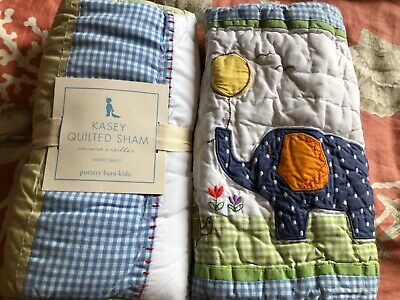2 Pottery Barn Kids  Kasey and Elephant Turtle Crib quilted shams NEW
