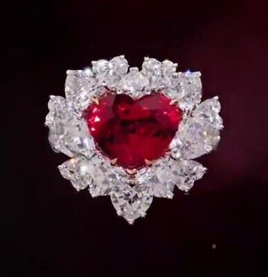 Stunning Heart Shape Red Ruby With Heart & Round Shape CZ 11.15TCW Wedding Ring