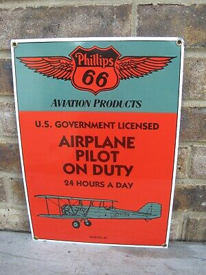 Ande Rooney Phillips 66 Aviation Products Porcelain Sign Airplane Pilot On Duty