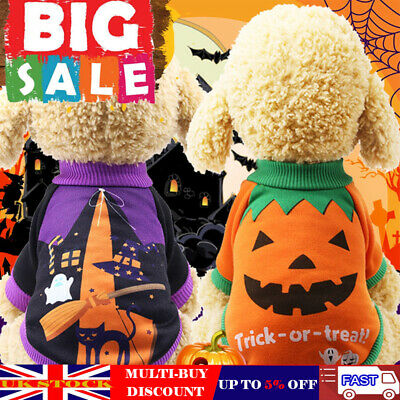 Pet Halloween Clothes Costume Puppy Cat Dog Winter Warm Outfit Pumpkin Jacket UK
