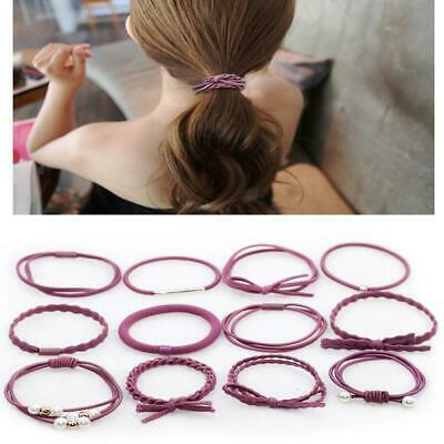 12X Girls Set Elastic Hair Ties Band Ropes Ring Ponytail Holder Accessories JJ