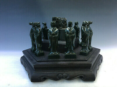 Beautiful Old Chinese Jasper Graven Jade Zodiac With Rosewood box
