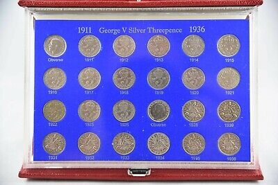 King George V Silver Threepences 3d 1911-1936  Collector Gift Set