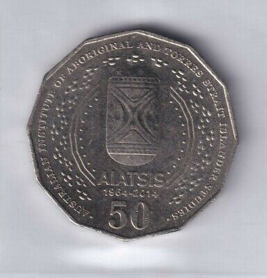 2014 Australian 50 Cent Coin - 50th ANNIVERSARY AIATSIS - VERY LOW MINTAGE EF+ 2