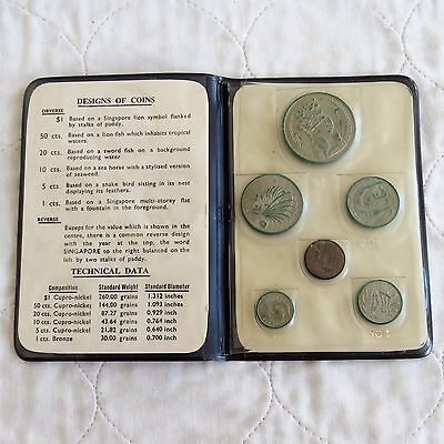 SINGAPORE 1967 6 COIN NEW COIN ISSUE UNCIRCULATED SET - dark blue wallet