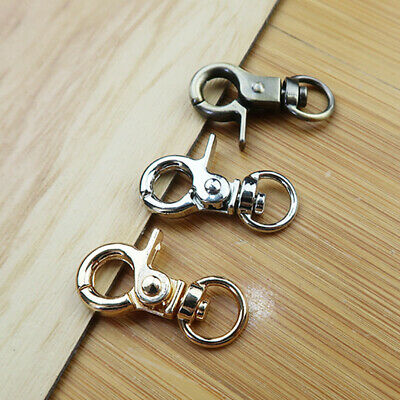 10PC Silver Swivel Trigger Clips Snap Lobster Clasp Hook Bag Key Ring Hooks G BW