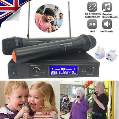 2* UHF Professional 2CH Wireless Dual Handheld Microphone Mic System LCD Display