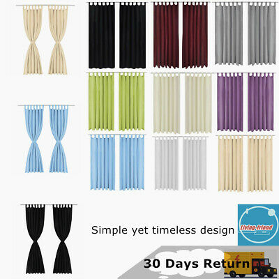 2x Blackout Curtains Eyelet Pencil Pleat Net Lined Blinds With Loops Home Office
