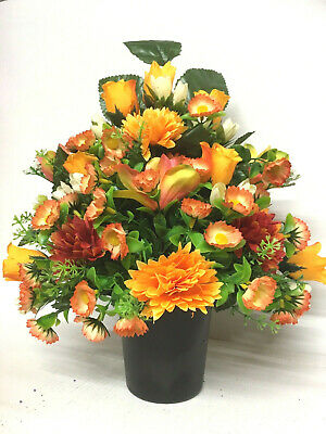 Autumn Winter Orange Rose Flatback Silk Flower Grave Memorial Funeral Pot