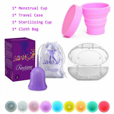 Reusable Menstrual Cup Period Soft Medical Moon Cups+Carry Case + Sterilizer Cup